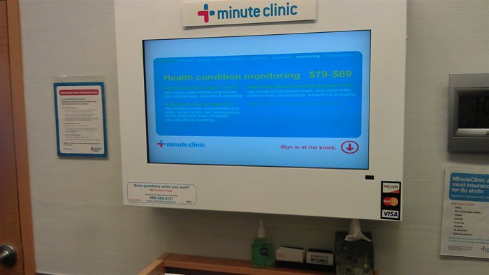 CVS Minute Clinic Welcome Screen