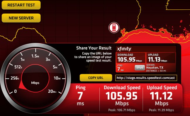 Extreme 105 Speed Test Results on Xfinity