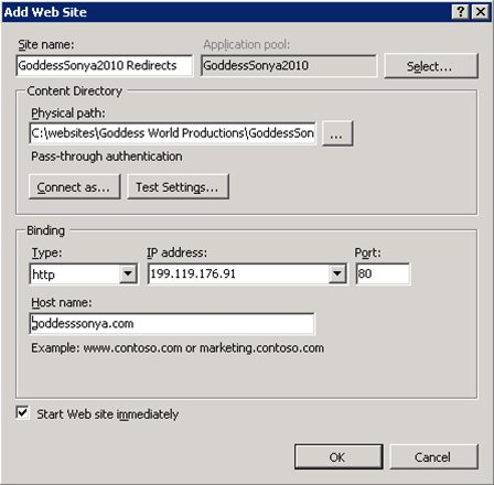 IIS 7.5 creating Web Application to handle 301 Redirects