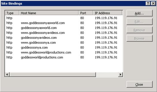 IIS 7.5 web application bindings