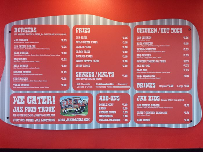 JAX menu and prices