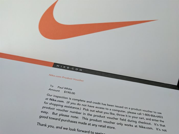 Nike Warranty Claim Voucher
