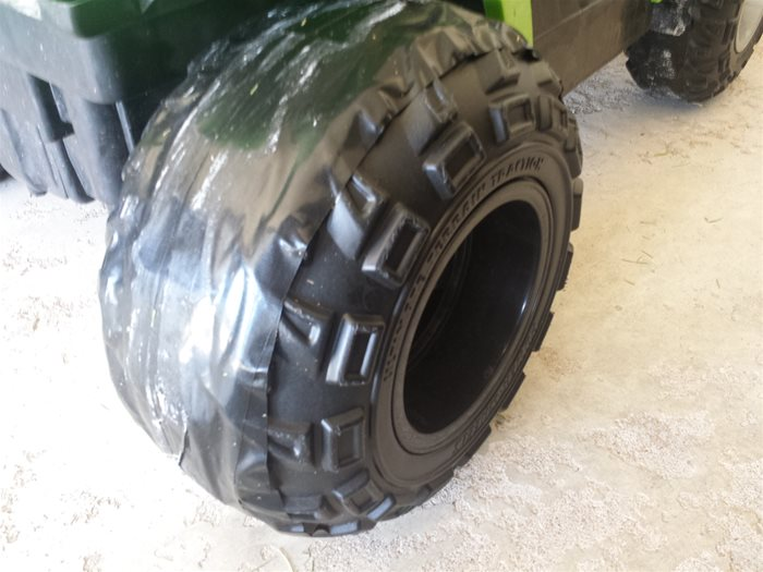 Power Wheels Rear Tire after wrapping with Duck Tape