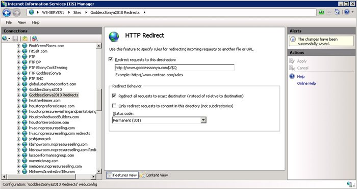 Proper 301 Redirects in IIS 7.5