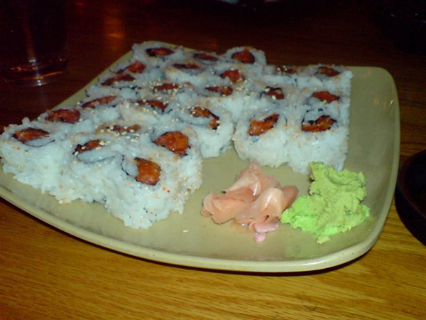 Spicy Salmon Rolls at Oishii
