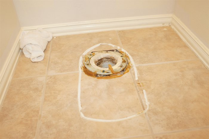 Toilet Bowl Removed from Floor