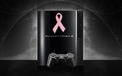 PS3 with pink ribbon
