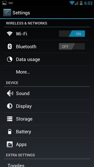 Android 4.0 System Settings